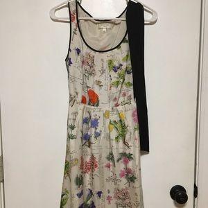 Anthro Silk floral dress